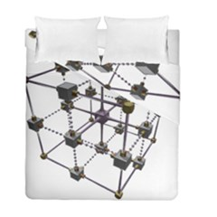 Grid Construction Structure Metal Duvet Cover Double Side (full/ Double Size) by Nexatart