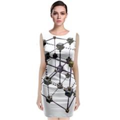 Grid Construction Structure Metal Classic Sleeveless Midi Dress