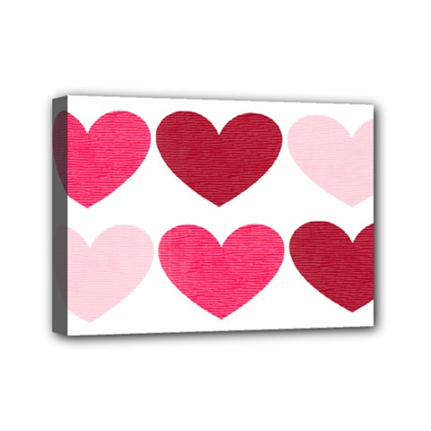 Valentine S Day Hearts Mini Canvas 7  X 5
