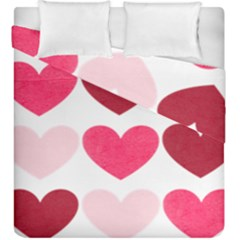 Valentine S Day Hearts Duvet Cover Double Side (King Size) by Nexatart
