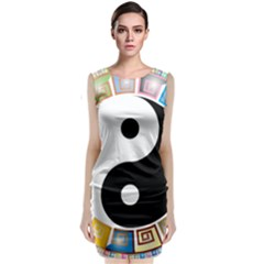 Yin Yang Eastern Asian Philosophy Classic Sleeveless Midi Dress