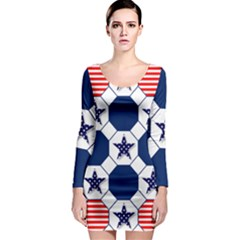 Patriotic Symbolic Red White Blue Long Sleeve Bodycon Dress