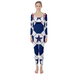 Patriotic Symbolic Red White Blue Long Sleeve Catsuit by Nexatart