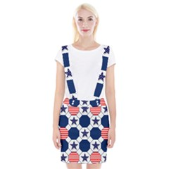 Patriotic Symbolic Red White Blue Suspender Skirt