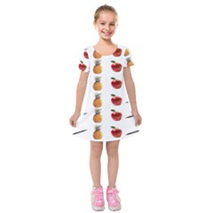 Ppap Pen Pineapple Apple Pen Kids  Short Sleeve Velvet Dress by Nexatart