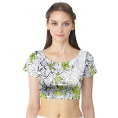 Floral Pattern Background Short Sleeve Crop Top (tight Fit)