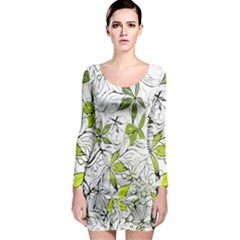Floral Pattern Background Long Sleeve Bodycon Dress