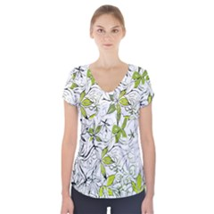Floral Pattern Background Short Sleeve Front Detail Top by Nexatart