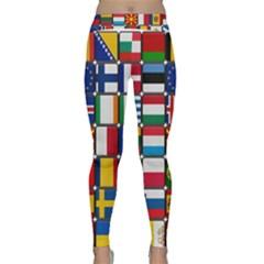 Europe Flag Star Button Blue Classic Yoga Leggings