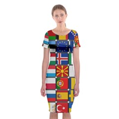Europe Flag Star Button Blue Classic Short Sleeve Midi Dress by Nexatart