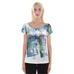 Background Color Circle Pattern Women s Cap Sleeve Top by Nexatart