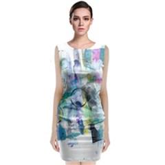 Background Color Circle Pattern Classic Sleeveless Midi Dress