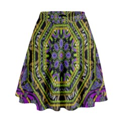 Wonderful Peace Flower Mandala High Waist Skirt by pepitasart