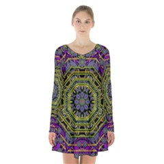 Wonderful Peace Flower Mandala Long Sleeve Velvet V Neck Dress by pepitasart