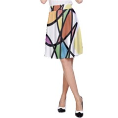 Art Abstract Exhibition Colours A-Line Skirt