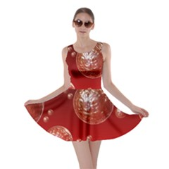 Background Red Blow Balls Deco Skater Dress