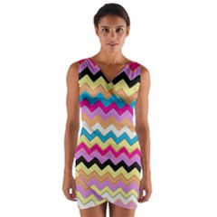 Chevrons Pattern Art Background Wrap Front Bodycon Dress