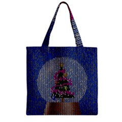 Christmas Snow Zipper Grocery Tote Bag by Nexatart