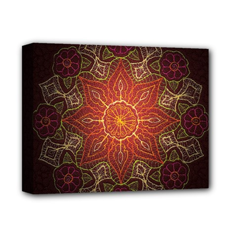 Floral Kaleidoscope Deluxe Canvas 14  X 11  by Nexatart