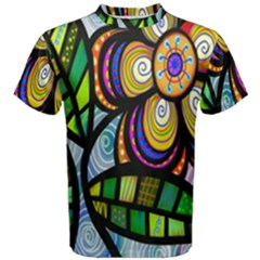 Folk Art Flower Men s Cotton Tee by Nexatart
