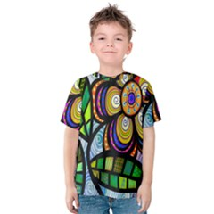 Folk Art Flower Kids  Cotton Tee by Nexatart