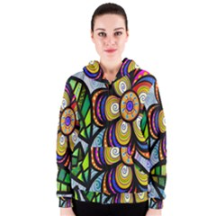 Folk Art Flower Women s Zipper Hoodie by Nexatart