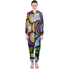 Folk Art Flower Hooded Jumpsuit (ladies)  by Nexatart
