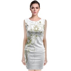 Flowers Background Leaf Leaves Classic Sleeveless Midi Dress