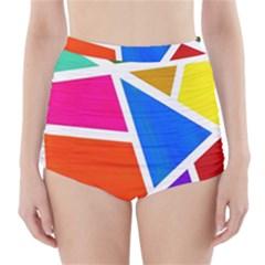 Geometric Blocks High-Waisted Bikini Bottoms by Nexatart