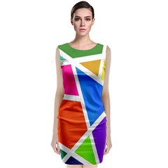 Geometric Blocks Classic Sleeveless Midi Dress