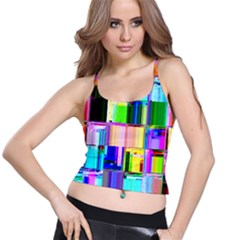 Glitch Art Abstract Spaghetti Strap Bra Top