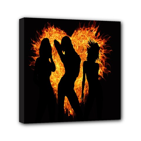 Heart Love Flame Girl Sexy Pose Mini Canvas 6  X 6  by Nexatart