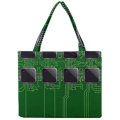 Green Circuit Board Pattern Mini Tote Bag by Nexatart