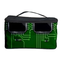 Green Circuit Board Pattern Cosmetic Storage Case by Nexatart