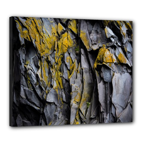 Grey Yellow Stone Canvas 24  X 20  by Nexatart