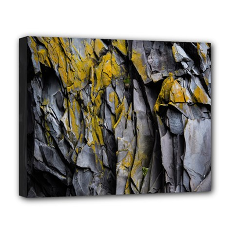 Grey Yellow Stone Deluxe Canvas 20  X 16