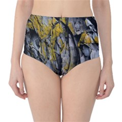 Grey Yellow Stone High-Waist Bikini Bottoms