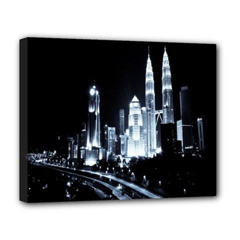Kuala Lumpur Urban Night Building Deluxe Canvas 20  X 16