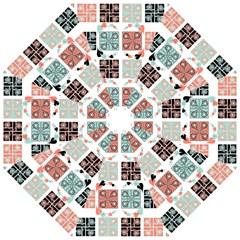 Mint Black Coral Heart Paisley Golf Umbrellas