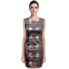 New York Building Windows Manhattan Classic Sleeveless Midi Dress