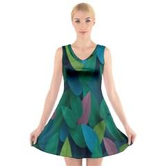 Leaf Rainbow V Neck Sleeveless Skater Dress by Jojostore