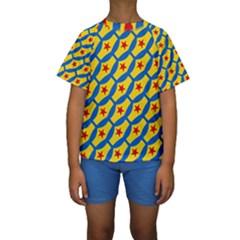 Images Album Heart Frame Star Yellow Blue Red Kids  Short Sleeve Swimwear by Jojostore
