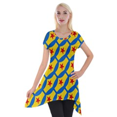 Images Album Heart Frame Star Yellow Blue Red Short Sleeve Side Drop Tunic by Jojostore