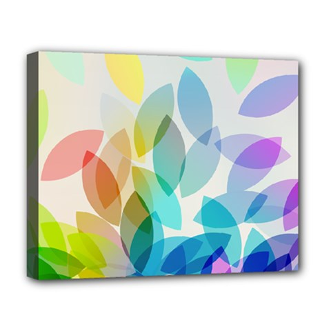 Leaf Rainbow Color Deluxe Canvas 20  X 16   by Jojostore