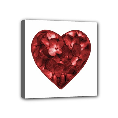 Floral Heart Shape Ornament Mini Canvas 4  X 4  by dflcprints