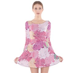 Peonies Flower Floral Roes Pink Flowering Long Sleeve Velvet Skater Dress by Jojostore