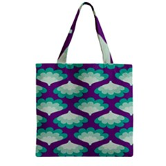 Purple Flower Fan Zipper Grocery Tote Bag by Jojostore