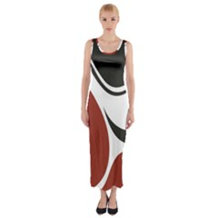 Red Black Fitted Maxi Dress by Jojostore