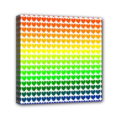 Rainbow Love Heart Valentine Orange Yellow Green Blue Mini Canvas 6  X 6  by Jojostore
