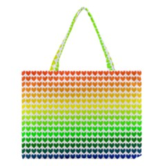 Rainbow Love Heart Valentine Orange Yellow Green Blue Medium Tote Bag by Jojostore